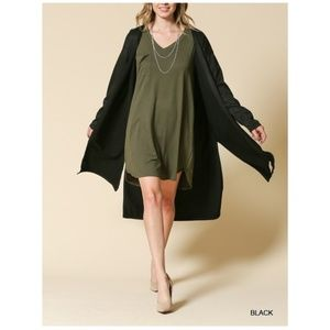 New! Black French Terry Suede Duster Cardigan